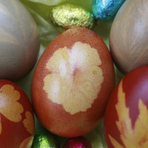 Flower and herb patterned eggs dyed with onion skins, turmeric, red cabbage and beetroot.