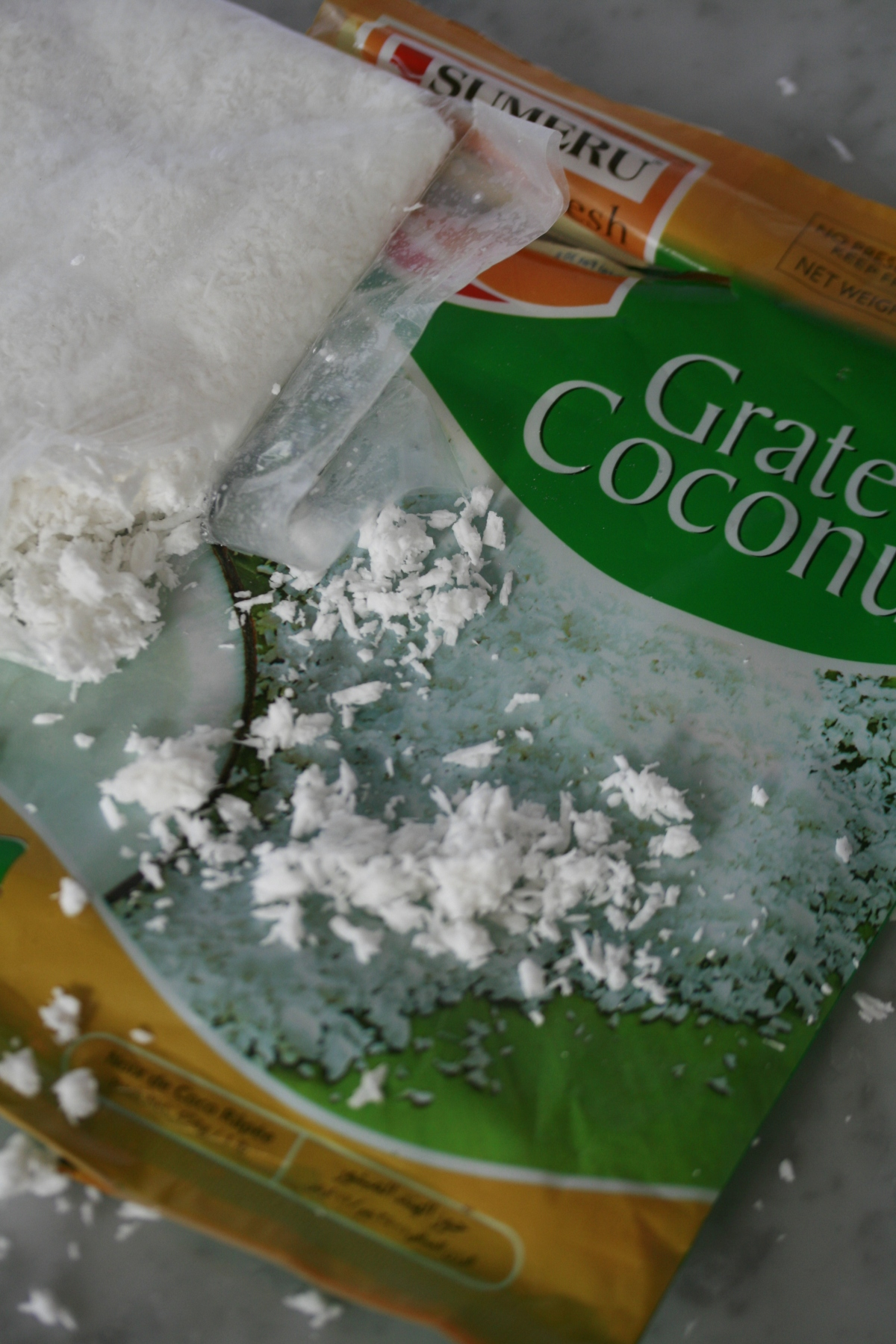Pack of frozne fresh grated coconut