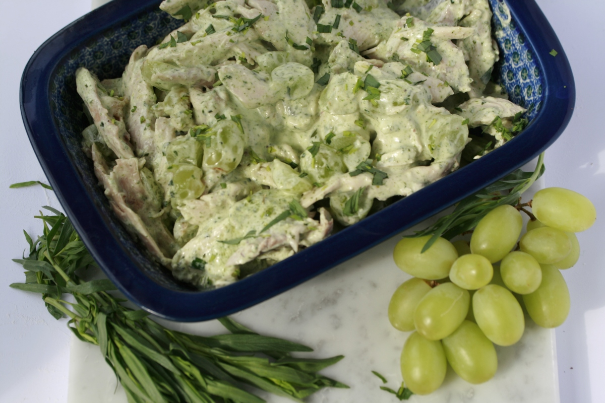 Chicken in a tarragon mayonnaise with grapes