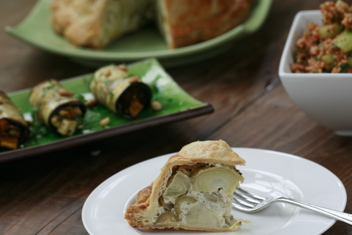 Artichokes in Puff pastry served with picnic salads