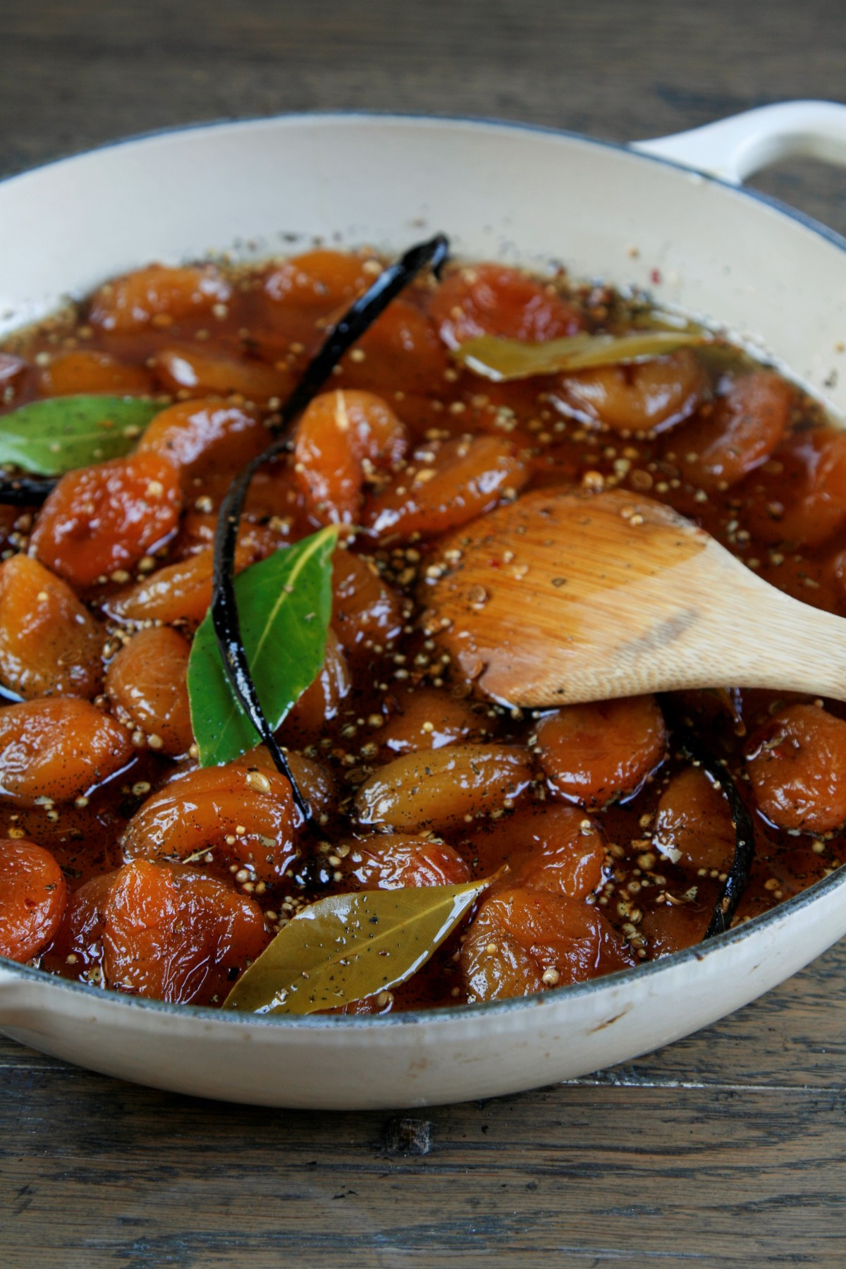 Vanilla Spiced Apricots with vanilla, Bay and Pickling spice