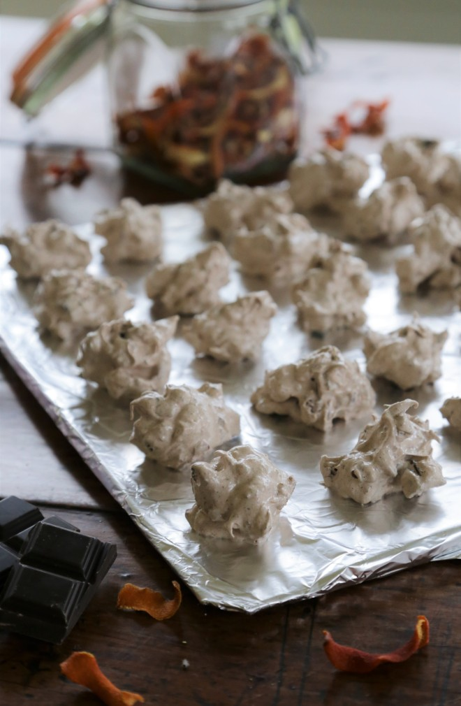 Forgotten Cookes with dark chocolate and dried orange zest