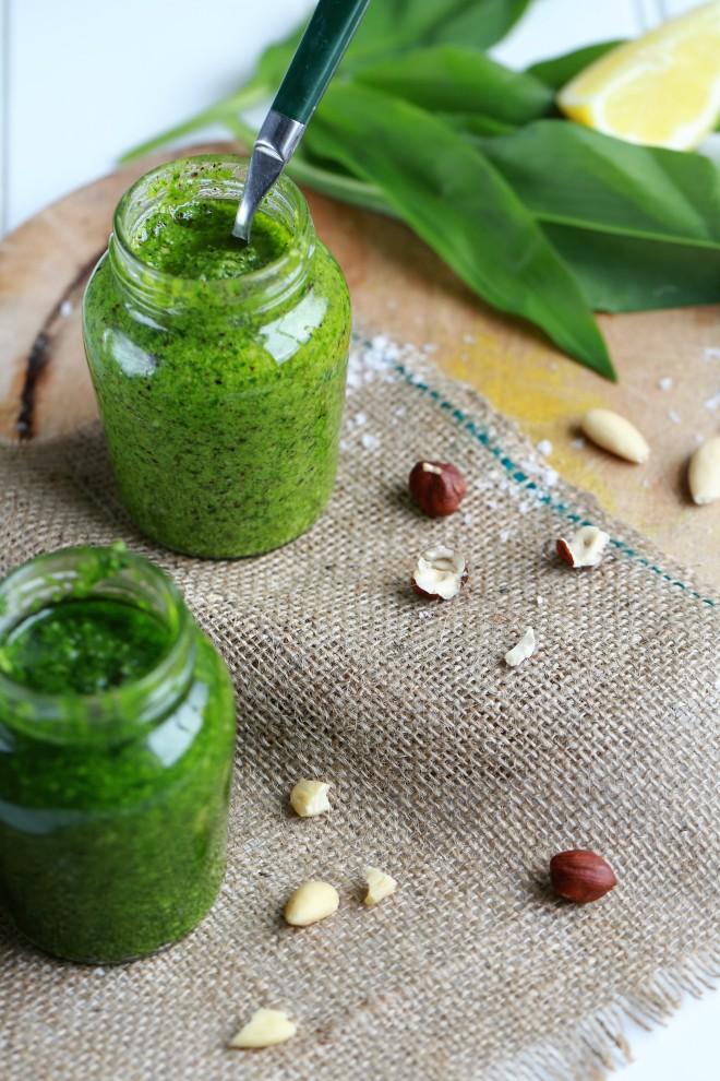 jars of wild garlic pesto
