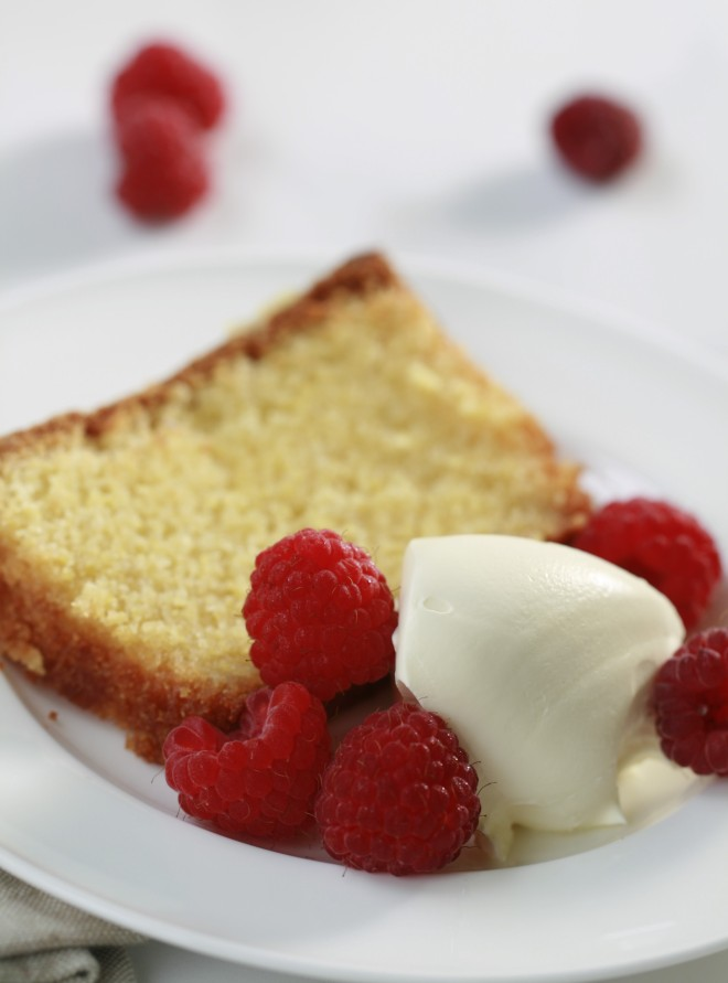 Cake and Cream with raspberries