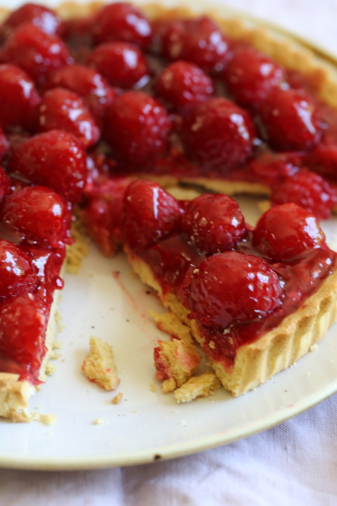 fresh raspberry jam glazed tart